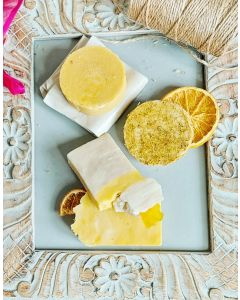 Sunshine Mood, Citrus fresh and Summer warm Set include 4x Fresh floral Soap Bars for every day use + Tissue  clay soap dish
